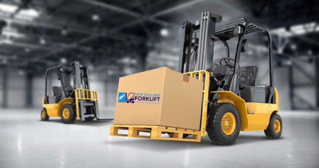 forklift lifts a box with nz forklift industry association logo